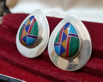 Vintage Sterling Silver Earrings, Native American Design, Inlaid Mosaic