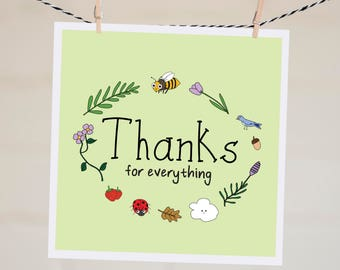 Thanks For Everything Card | Baby Shower Thank You Card | Card for Wife | Thank You Card | Gratitude Card | Bridal Shower Thank You Card