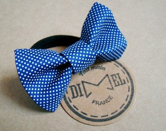 Bow tie on elastic woman girl hair blue mini polka dots