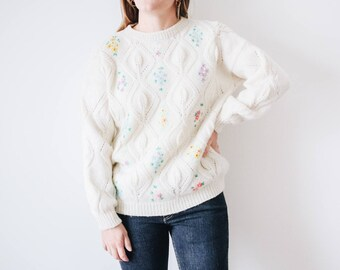70s Floral Sweater, 70s Cream Sweater, Floral Knit Sweater, Floral Print Sweater, Small Knit Sweater, Cream Floral Sweater, Cozy Sweater