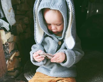 Baby Knitting Pattern Hoodie With Ears : Knit hoodie pattern Etsy