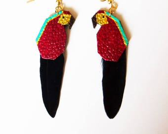 "Parrots earrings exotic ""Daphne"" leather and feather"