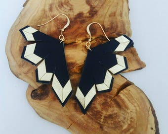 """Sanjita"" leather, 14 k gold earrings"