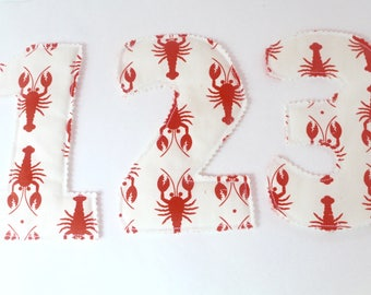 Jumbo fabric numbers, lobster counting game, fabric math manipulatives