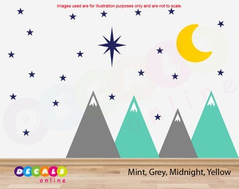Mountains Wall Decal with Moon and Stars / Mountains Wall Sticker / Nursery Decor / Mountain Nursery Wall Decal / Mountains Wall Art
