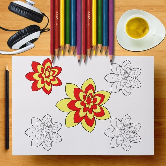 Printable Flower Coloring Page, Fun Gift Idea, Easy To Color