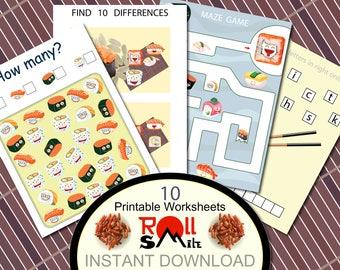 RollSmile Kids printable games Sushi Kids Games Preschool kids worksheet Preschool-Kindergarten Worksheets Activities Game 10 JPEG 8.5x11 in