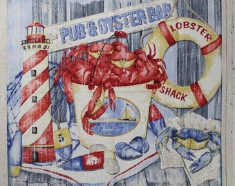 SEAFOOD SHACK a fabric panel by Kathy Hatch for Northcott.