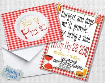 Picnic Invitation; Folded Card; Postcard; PDF; E-Card