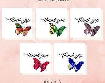 African fabric/Wax print card/Thank You Card set - SPTDB03
