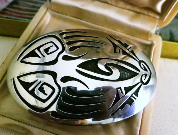 Navajo Indian Sterling Silver Belt Buckle signed Floyd Namingha Lomakuyvaya 3""