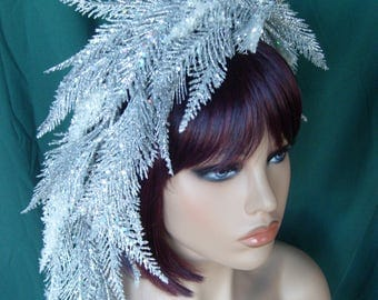 Headdress Headpiece Headband Silver White Garland Glitter Christmas Wedding New Years Holiday Party Costume