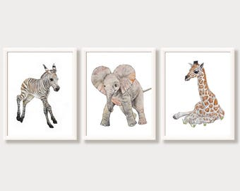 Safari Wall Art Nursery Set of 3 Prints Gender Neutral Color Baby Animal Prints African Zoo Animals Girl Boy Room Wall Gallery Nursery Decor