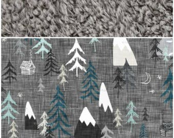 Forest Peaks Minky Blanket- gift set, gray teal nursery,boy, mountain print, modern blanket, baby shower,woodland nursery