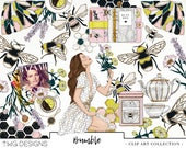 Bumble Bee Fashion Girl Clip Art Watercolor Clipart PNG Planner Tea Flowers Hexagons Gold Glitter Hand Drawn Illustration Sticker Graphics