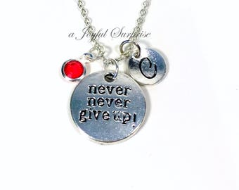 Never Never Give up Necklace, Survivor's Gift, Silver Workout Jewelry Pendant Initial Birthstone custom personalized crossfit her him women