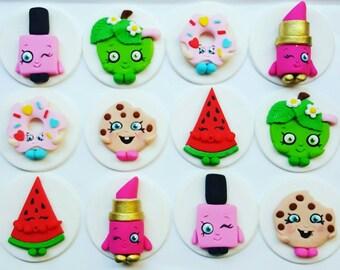 12 x Shopkins fondant cupcake toppers