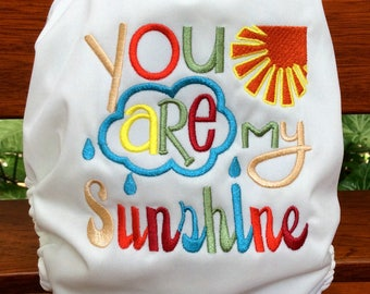 You Are My Sunshine Limited Edition custom embroidery All-In-One One Size Cloth Diaper  Cloth Nappy