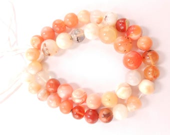Mexican Fire Opal Round Faceted Beads Semiprecious Gemstone Beads, 13 Inch Full Strand, 8mm-10mm Approx
