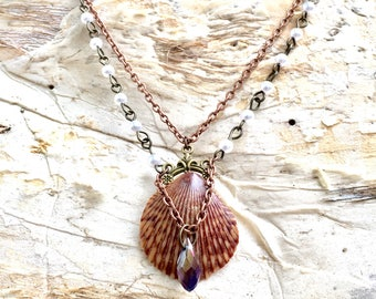 Boho necklace, Seashell necklace, mermaid necklace, Victorian necklace, Swarovski crystal necklace, seashell pendent, natural jewelry
