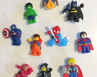 Lego party favours, lego movie, lego crocs charms, lego magnet, goodie bag favours, lego birthday party