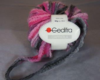 Fancy Gedifra Capriola wool ball, wool Bohemian, ball pink grey, wool, knitted crochet creation