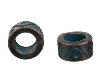 8pcs, metal beads, patina, antique bronze beads spacer beads, set of 8 beads, spacer metal beads Bohemian beads 9mm
