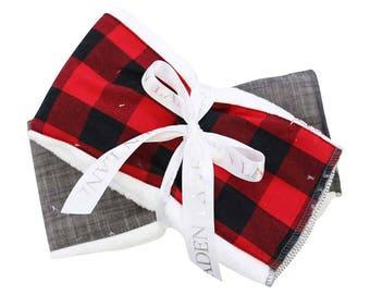 Axel's Red Plaid   Red, Black. Gingham, Checker, Plaid, Lumberjack Baby Burp Set
