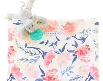 Willow Floral | Zippered Wet Bag  | Nature-Inspired Travel Bag | Leaves & Twigs Print | Cloth Diaper Zip Pouch |  Water-Resistant Bag