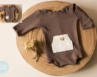 Long Sleeve Little Boy Romper in Brown - Newborn and 6-9 Months - Photography Prop
