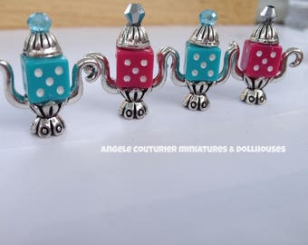 Miniature teapots miniature alice in wonderland dollhouse dice tea pots miniature accessories kitchen