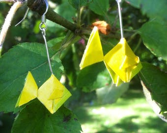 Green and yellow origami fish earrings