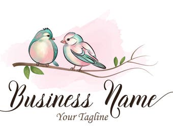 Birds cute logo, watercolor Photography Logo , watercolor bird logo, birds on branch logo, bird logo design, blue pink birds cute logo
