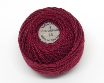 Valdani Pearl Cotton Thread Size 8 Solid: #78 Rusty Burgundy