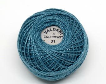 Valdani Pearl Cotton Thread Size 8 Solid: #31 Smokey Teal