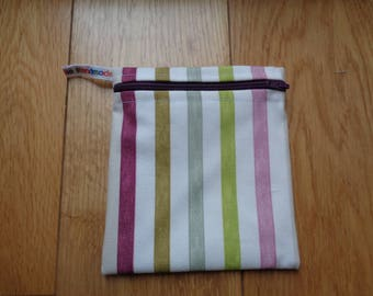 Snack Bag - Bikini Bag - Lunch Bag - Make Up Bag Small Poppins Waterproof Lined Zip Pouch - Sandwich bag  Eco - Multi Muted Stripe