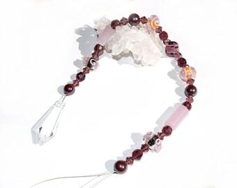 Crystal Suncatcher 48cm point pendulum pendant berry rose colors glass bead window hanger chain ornament hanging decoration jewelry present