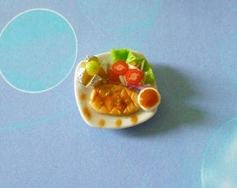 Mini Barbecue chicken steak minichicken steak vegetable salad -Miniature food Dollhouse miniatures -tiny food