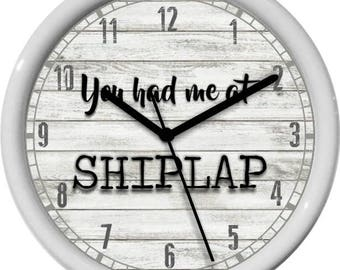 "You Had Me at Shiplap 10"" Personalized Kitchen  Home Decor Wall Clock"