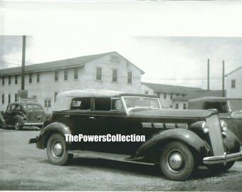 Black & White photograph 1936 Packard 8 Phaeton (8 passenger) Touring Car Printed from Original Negative Camp Adair, Oregon c. 1944