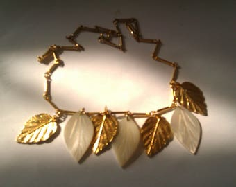 gold coloured and MOP leaf pendant necklace
