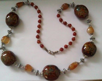 ceramic, glass, metal and plastic bead necklace