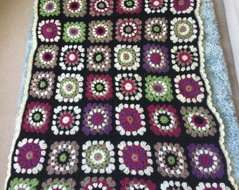 Large crochet granny square blanket/throw
