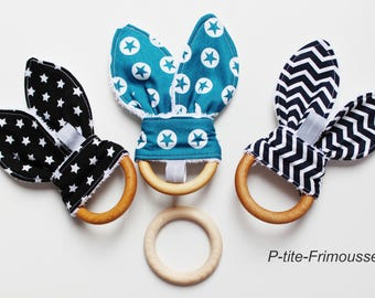 Teething ring bunny ears & ring natural wood organic beeswax.