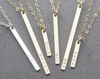 Initial Vertical Tag Necklace, Gold Tag Necklace,14k Gold Fill, Silver, Rose Gold Fill, Bridesmaid Gift (OL VI 3.16-40)