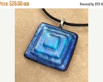 OnSale Layered Dichroic Necklace, Blue Dichroic, Glass Jewelry, Fused Glass Jewelry, Dichroic Pendant, Dichroic Glass Jewelry - HEA063