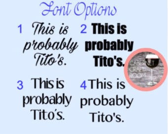 This is probably Tito's Decal // Custom Size // Decal Only