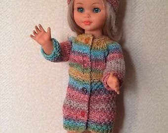 Clothes for dolls 38/40cms, coat, hat and wool shoes