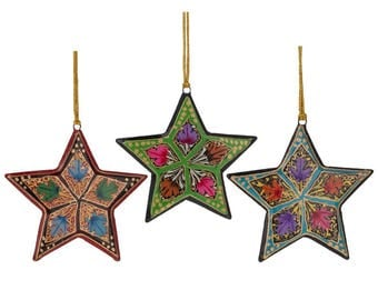 "3"" Set of 3 Oriental Stars Paper Mache Christmas Ornaments"