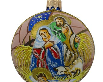 "3.25"" Jesus Sleeping Nativity Glass Ball Christmas Ornament"